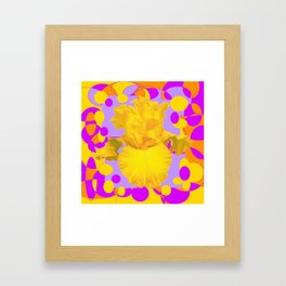 Modern Yellow Iris Purple Patterns Flowers art Framed Art Print