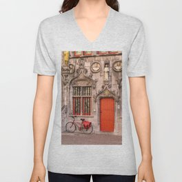 Bicycle and a door Unisex V-Neck