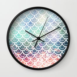 Mermaid Scales Coral and Turquoise Wall Clock