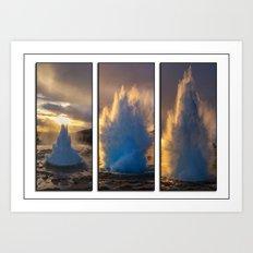 Geysir Triptych Iceland Art Print