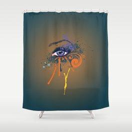 Grunge violet eye Shower Curtain