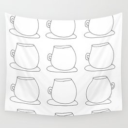 Coffee Illustration Tea Cups Pattern - Drink Coffee, Have Some Tea, Talk About Love Wall Tapestry