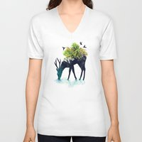 silhouette V-neck T-shirts featuring Watering (A Life Into Itself) by Picomodi