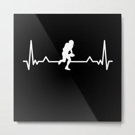 Football Heartbeat Line Funny Gift Metal Print