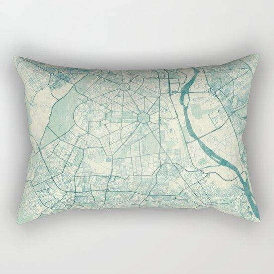 Delhi Map Blue Vintage Rectangular Pillow