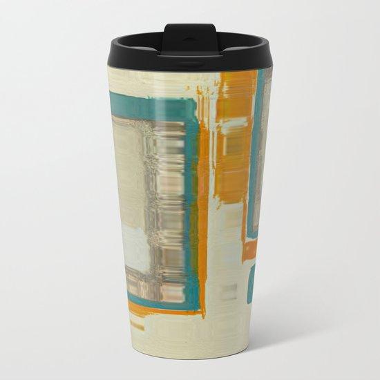 Mid Century Modern Blurred Abstract Metal Travel Mug
