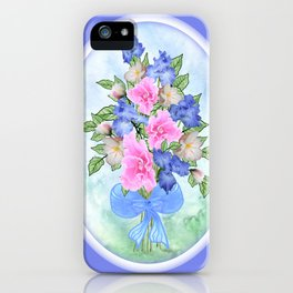 Glad and Iris Bouquet Oval on Blue iPhone Case