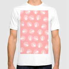 Modern mermaid white seashells hand drawn pattern on pink Mens Fitted Tee MEDIUM White