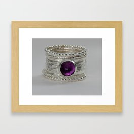 Eco-Friendly Silver Purple Amethyst Ring, Stack Ring, February Birthstone Rings Framed Art Print