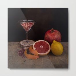 Still life- pomegranate and citrus fruits Metal Print