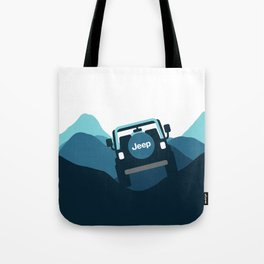 Jeep 'Driving' Blue Mountain Tote Bag