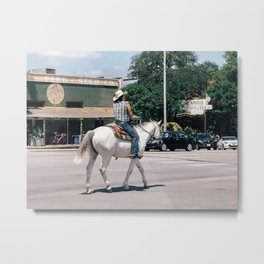 Horse Riding on South Congress Ave Metal Print