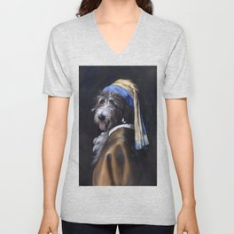 Frankie with a Pearl Earring Unisex V-Neck