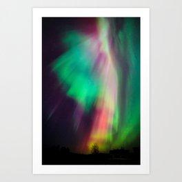 Big beautiful multicolored northern lights in Finland Art Print