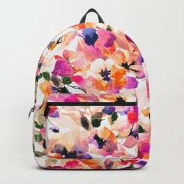 Chic Floral Pattern Pink Orange Pastel Watercolor Backpack