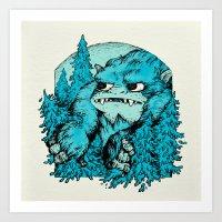 yeti Art Prints featuring Yeti by Shelley Barnes