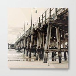 Lone Seagull Under Ocean Pier Metal Print
