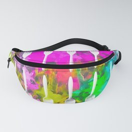 fork and spoon pattern with colorful painting abstract background Fanny Pack