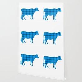 Cow: Light Blue Plaid Wallpaper