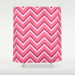 Pink Zig Zag Pattern Shower Curtain