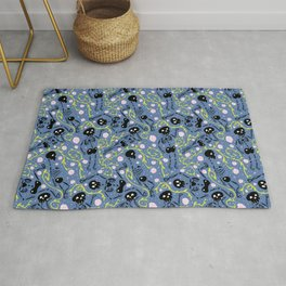 skeletons in spring - horizon blue - black Rug