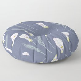 White Calla lilies on grey background Floor Pillow