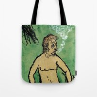 kevin russ Tote Bags featuring Kevin Discovery by K. Fry Illustration