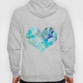 blue turquoise mixed media flower illustration Hoody
