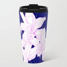 Pink and White Orchids, Navy Background Illustration Travel Mug