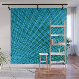 Rays of light blue light with mirrored green waves on mesh. Wall Mural