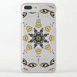 wild eyed women Clear iPhone Case