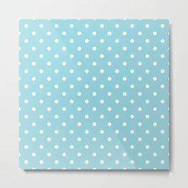 Sky Blue with White Polka Dots Metal Print