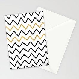 Writing Exercise- Simple Zig Zag Pattern - Black on White Gold - Mix & Match Stationery Cards