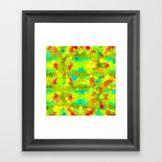 psychedelic geometric circle and square pattern abstract in yellow green blue red Framed Art Print