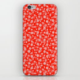 Festive Fiesta Red and White Christmas Holiday Snowflakes iPhone Skin