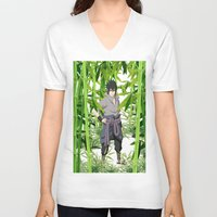 sasuke V-neck T-shirts featuring Sasuke by tanduksapi