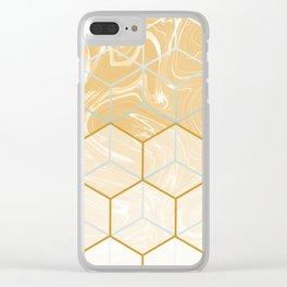 Geometric Effect Caramel Marble Design Clear iPhone Case
