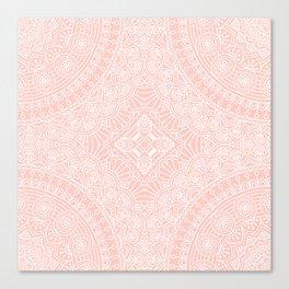 Baby Pink White Mandala Pattern Illustration Canvas Print