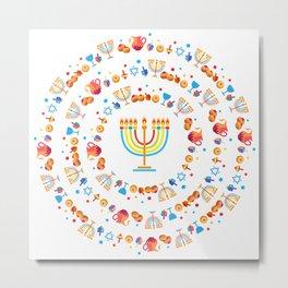 Happy Hanukkah Holiday Pattern Metal Print