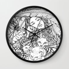 Tiny Claws - Tropical Cats - Black and White - Illustration Wall Clock