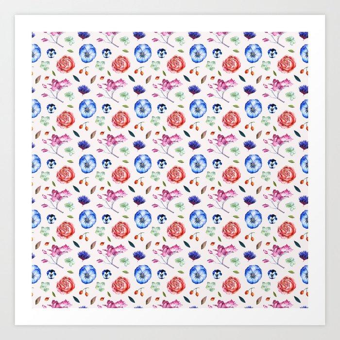 Spring flower patterns Art Print