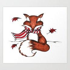Holiday Fox Art Print