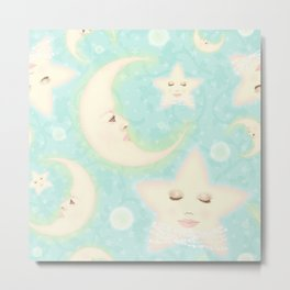 Lady Moons and Stars Pattern Metal Print