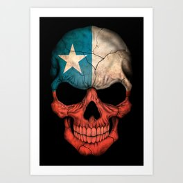Dark Skull with Flag of Chile Art Print