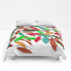 colored leaves Comforters