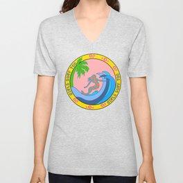 Girls Surf Too,solid color Unisex V-Neck
