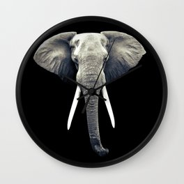 Elephant Portrait Wall Clock