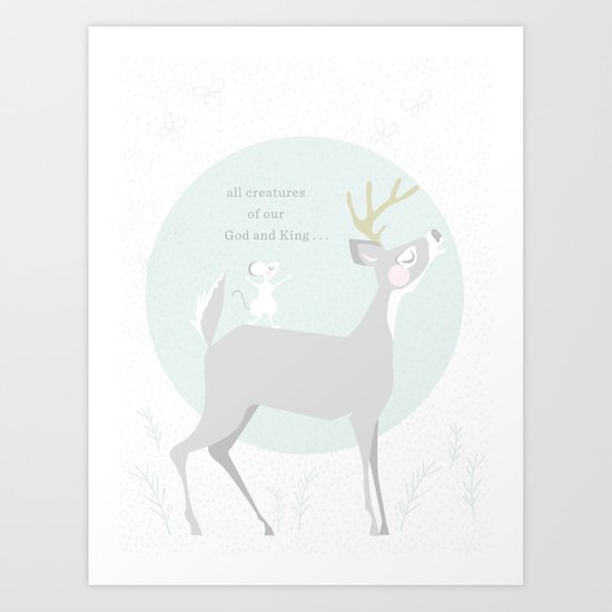 Deer Singing Art Print