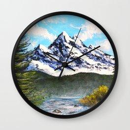 Bob Ross Art - Mountain Art Wall Clock