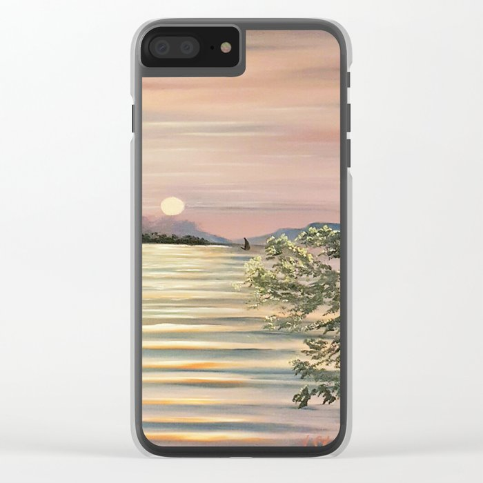 Sunset over a lake Clear iPhone Case